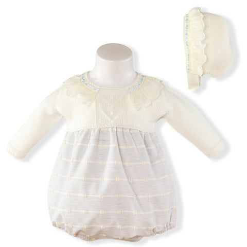 Baby romper pique lace details with bonnet
