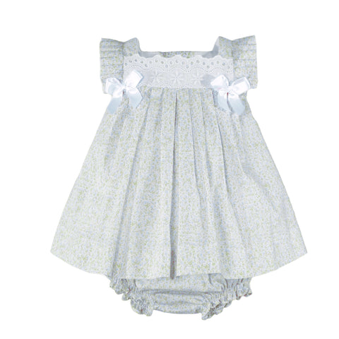 Baby girls floral print and bows of ribbon dress with bloomer