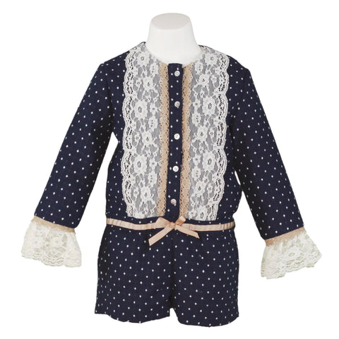 Girls long sleeve blue polka dots romper