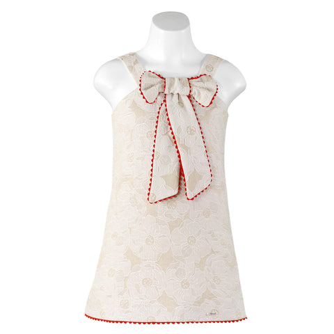 GIRLS BEIGE FLORAL BIG BOW
