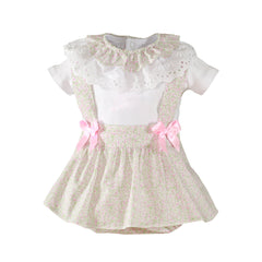 Baby girls floral print skirt with suspenders and collar rruffle blouse set