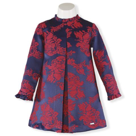 Girls Long sleeve Blue Dress and red flowers