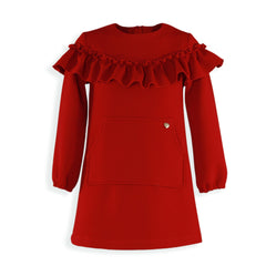 Girls long sleeve red dress