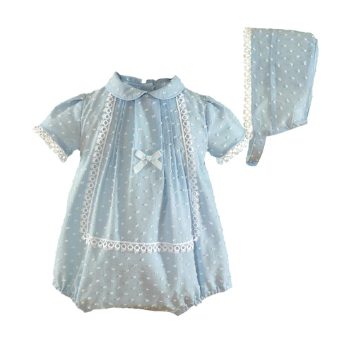 Baby plumeti with bonnet romper light blue