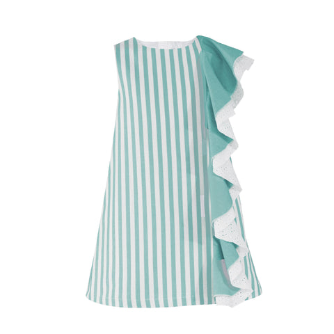 Girls stripes and frill side  dress