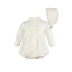 Baby boys lace long sleeve romper with bonnet