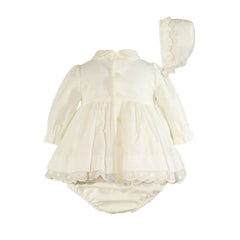 Baby plumeti and ribbon long sleeve dress with panty and bonnet