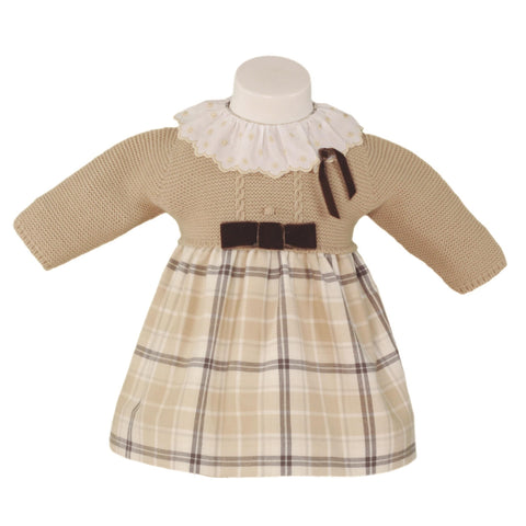Baby girls long sleeve plaid bow dress