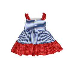 Baby girls polka dots and blue stripes  dress