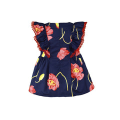 Baby girls big flowers print and frills dress