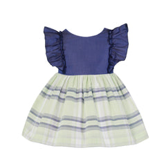 Baby girls stripes and back ruffle dress
