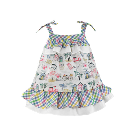 Baby girls plaid and summer print dress