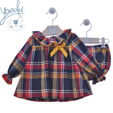 Girls plaid short dress with matching bloomer