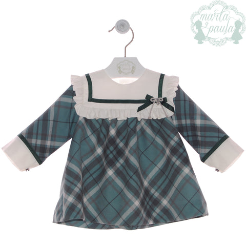 Girls green plaid short dress with ruffle collar dress