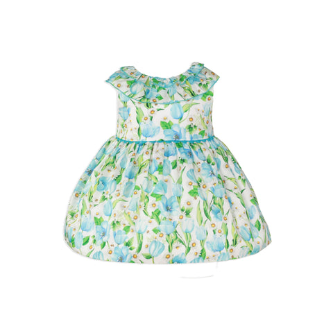 Baby girls daisy flowers print green dress