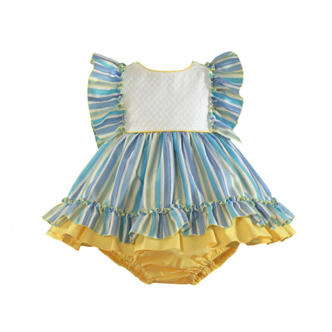 Baby girls stripes and yellow ruffle dress