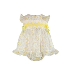Baby girls yellow flowers print dress  with bloomer