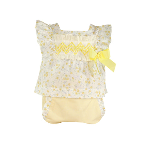 Baby girls yellow flowers print blouse set