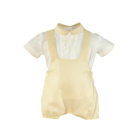 Baby boys suspenders romper with shirt set