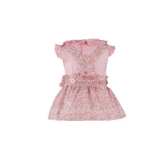 Baby girls pink floral print dress skirt with suspenders and blouse