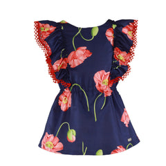 Girls big flowers print and frills dress