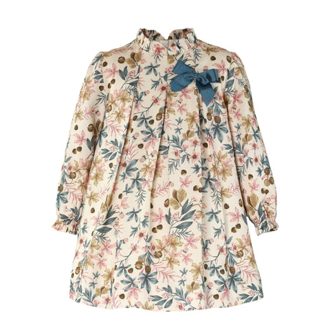 Girls floral print long sleeve dress