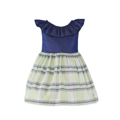 Girls stripes and back ruffle dress