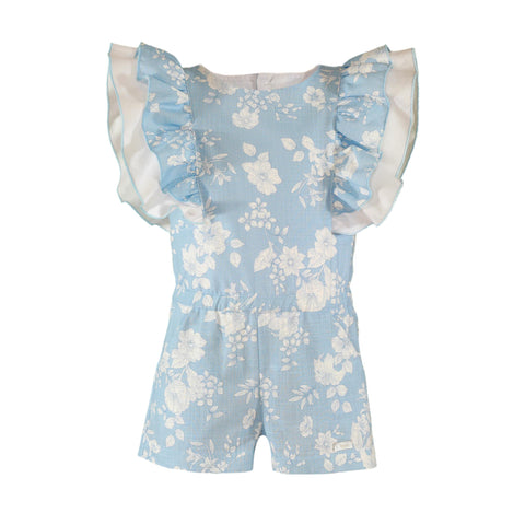 Girls light blue floral print and ruffle romper