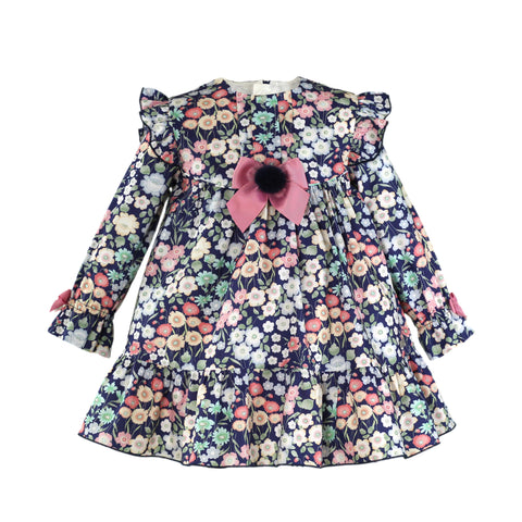 Girls color floral print long sleeve blue marine dress