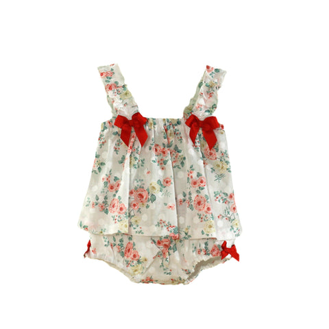 Baby girls flower and dots print blouse set