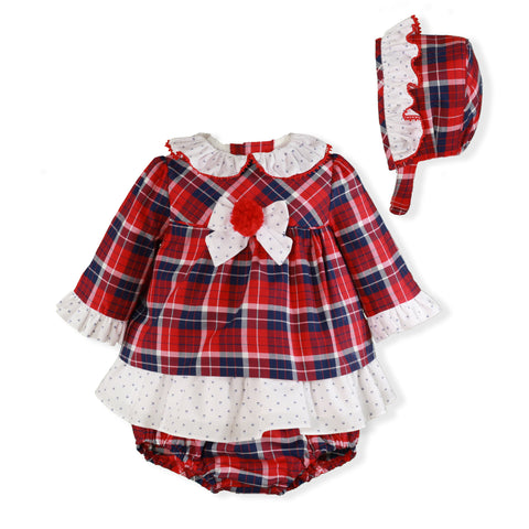 Baby Girls Red dark blue plaid plumeti dress wiht panties and bonnet