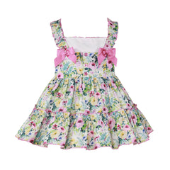 Girls floral print and bow dress
