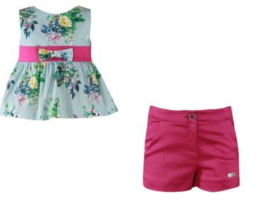 Girls bouquet print blouse and fuchsia short pants