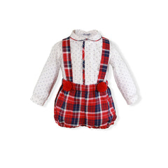 Baby Boys pom pom and plaid short set