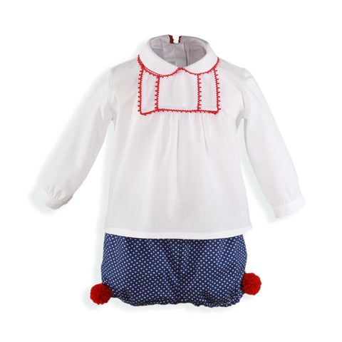 Baby Boys red pom pom short set