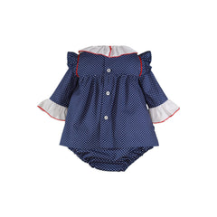 Baby girls long sleeve blue red lace dress and panty