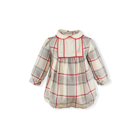 Baby Long sleeve red plaid gray romper