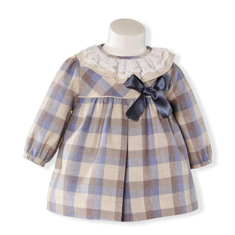 Baby Girls plaid with blue bow dress