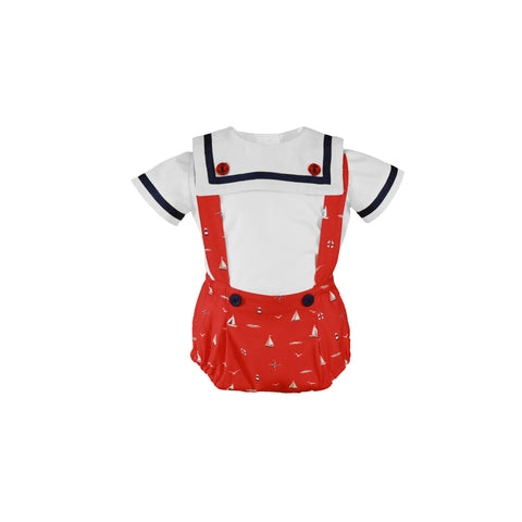 Baby boys sailor overall set