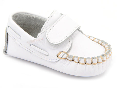 Baby Boys white with Velcro strap shoes