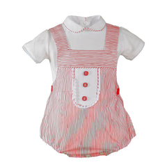Baby boys stripes print romper with shirt