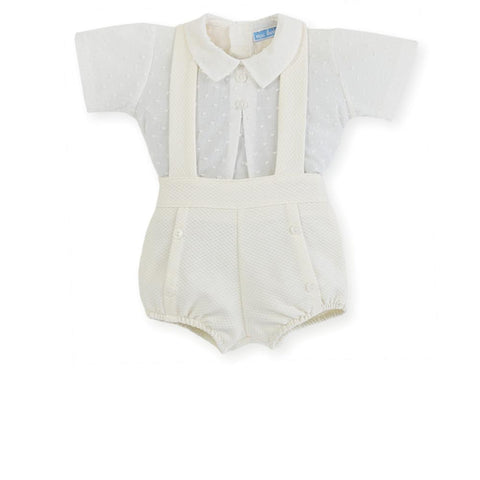 Boys suspender short ivory set