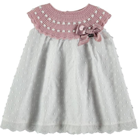 Girls white plumetti combined dress