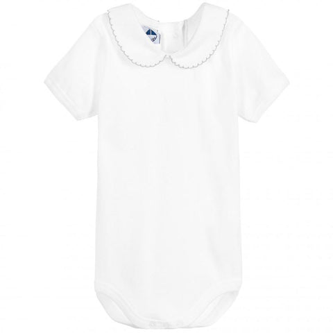 Newborn bodysuit with pique collar