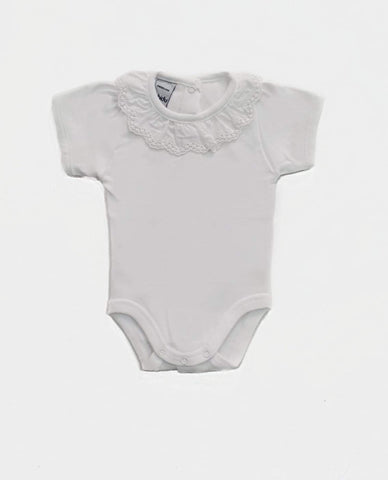 Newborn bodysuit ruffle collar