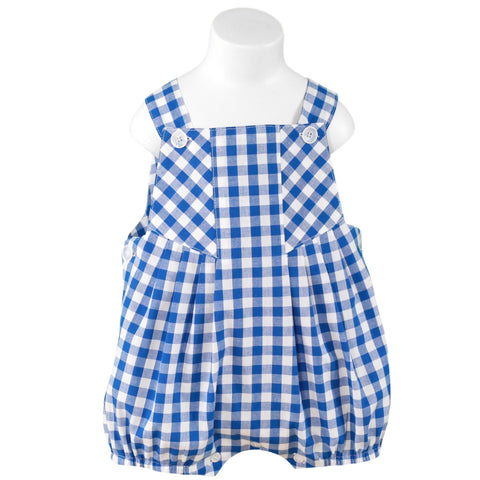 BABY BOYS BLUE & WHITE CHECK ROMPER