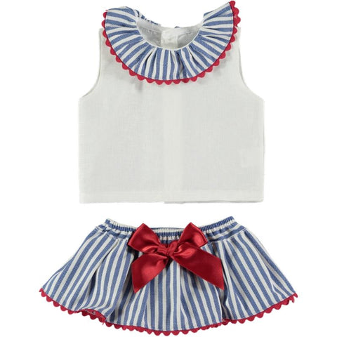 Baby girls sailor with stripes skirt set