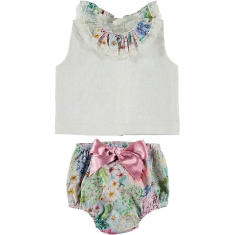 Baby Girls floral print shirt set