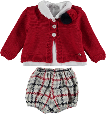Boys 3p plaid red or blue marine set