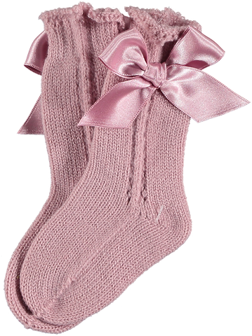 Girls inv high knee bow socks